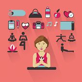 picture of yoga instructor  - Yoga instructor with infographic elements on a light background - JPG