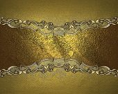 image of nameplates  - Grunge gold background with gold nameplate and decorative trim - JPG