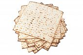 picture of matzah  - Matzot for pesach isolated on white background - JPG