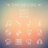 picture of g clef  - Music and entertainment thin line icon set for web and mobile - JPG
