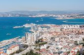 foto of gibraltar  - Scenic view from above over city of Gibraltar - JPG