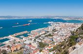 stock photo of gibraltar  - Scenic view from above over city of Gibraltar - JPG