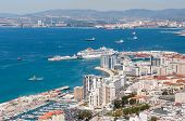 picture of gibraltar  - Scenic view from above over the port of Gibraltar - JPG