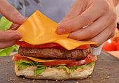 picture of burger  - Cheddar cheese on burger - JPG