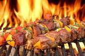 image of kababs  - Barbecue Beef Kababs On The Hot Grill Close - JPG