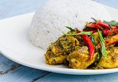 stock photo of curry chicken  - Chicken curry with rice on white plate  - JPG