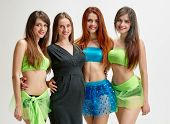 picture of triplets  - portrait of pregnant Choreographer and her dancers sisters triplets in studio - JPG