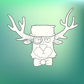 foto of deer head  - Vector Illustration Hand Drawn cute head of the hipster deer with horns - JPG