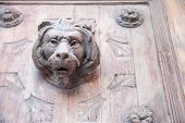 picture of lions-head  - Wooden head of a lion as an element in the front door of a palace in Ortigia Syracuse - JPG