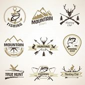 picture of hunt-shotgun  - Set of vintage hunting and fishing emblems and labels - JPG