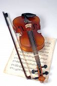 Old Violin With Music Sheet