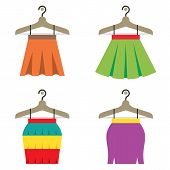 image of habilis  - Colorful Women Skirts With Hangers On White Background Vector Illustration - JPG