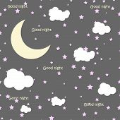 stock photo of moon stars  - Vector night scene with moon and stars - JPG