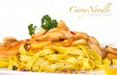 stock photo of curry chicken  - Curry noodle with chicken meat on white background - JPG