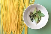 image of salt-bowl  - Spaghetti And Bowl With Bay Leaves - JPG