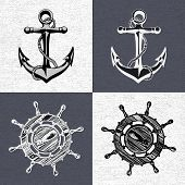 pic of ship steering wheel  - Doodle style ships anchor and wheel illustration in vector format - JPG