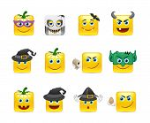 foto of emoticons  - Set of funny and very scary emoticons are dressed for Halloween - JPG