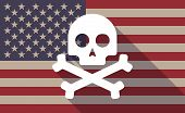 pic of skull crossbones flag  - Illustration of an USA flag icon with a skull - JPG