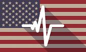 foto of beating-heart  - Illustration of an USA flag icon with a heart beat sign - JPG