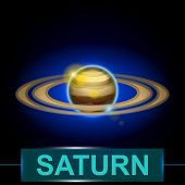 stock photo of saturn  - illustration of planet saturn with rings on dark background with shine - JPG
