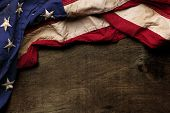 stock photo of usa flag  - Old American flag background for Memorial Day or 4th of July - JPG