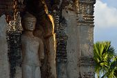 stock photo of stone sculpture  - sculpture buddha stone statue in temple buddhism Wat Cham Thewi Lamphun Thailand - JPG