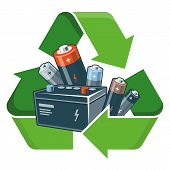 pic of reuse recycle  - Used batteries with green recycling symbol in cartoon style - JPG