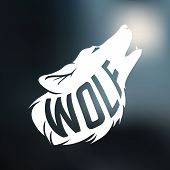 stock photo of wolf moon  - Wolf silhouette with concept text inside wolf on blur background - JPG