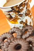picture of biscuits  - Coffee and delicious chocolate biscuits on table closeup - JPG