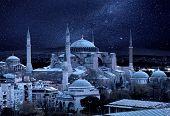 foto of constantinople  - Hagia Sophia in the moonlight - JPG