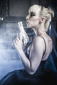 picture of pistols  - Sensual Blonde with pistols and dressed in costume ballet dancer - JPG