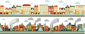 image of suburban city  - Town and industrial factory panoramic seamless background in flat style - JPG