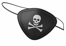 foto of skull cross bones  - 3D render of a black leather pirate eye patch with a human skull and crossbones symbol - JPG