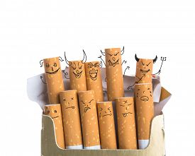 stock photo of box-end  - Box of cigarettes with Devil Face isolated on a white background - JPG