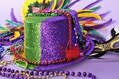Mardi Gras Still Life Feathered Masks Shiny Party Hat Beads Close Up Series Also  Coordinating Backg