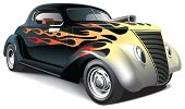 Hot Rod mit Flamme Verzierungen
