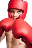 Professional Fighter Isolated On White Background