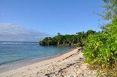 Long shot of beach strand on Guam.
