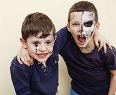 Постер, плакат: zombie apocalypse kids concept Birthday party celebration facepaint on children