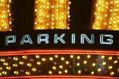 Colorful neon parking sign