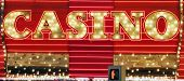 Red and gold color neon casino sign