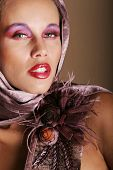 stock photo of pouty lips  - Beatiful biracial girl with fancy makeup - JPG