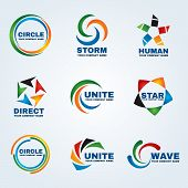������, ������: Circle Logo Storm Logo Human Logo Direct Logo Unite Logo Star Logo And Wave Logo Vector Art Design F