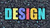 Design in Multicolor. Doodle Design. poster