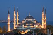 Main Mosque Of Istanbul - Sultan Ahmet (Blue Mosque) At Early Ev
