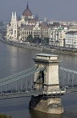 Danube And Hungarian Parliament And Part Of Chain Bridge.