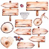 Постер, плакат: This handpainted collection of 9 watercolor wood slices clipart