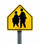 stock photo of obesity children  - Fat school children obesity symbol represented by overweight kids crossing sign - JPG