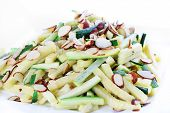 zucchini strips and toasted almonds