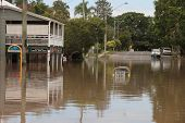 Brisbane, Australia - Jan 13 : Flood  Brisbane Rosalie Area Queensland Declared Natural Disater Janu